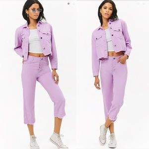 Purple Denim Jacket and Pant Set